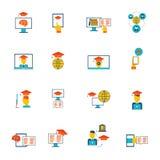 On-line-Bildungs-Ikonen flach Lizenzfreies Stockfoto