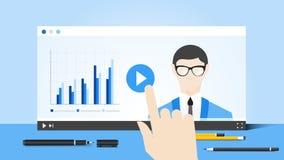 On-line-Bildungs-Illustration mit abstraktem web- browserund Geschäfts-Trainer On Video Player Flaches Vektorkonzept lizenzfreie abbildung