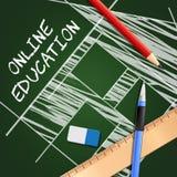 On-line-Bildungs-Shows, die Illustration der Website-3d schulen Stockbild