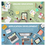 On-line-Bildungs- und APP-Entwicklungskonzept vektor abbildung
