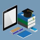 On-line-Bildungskonzept Infographic in der isometrischen Art Stockfoto