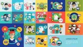 On-line-Bildungsvektorikonen Webinar, Schule Lizenzfreie Stockfotos
