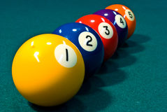 Line of Billiard Balls Stock Photo