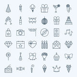 Line Birthday Party Icons royalty free illustration