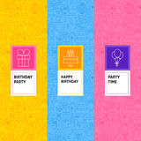 Line Birthday Patterns Set Royalty Free Stock Photography
