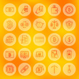 Line Bitcoin Web Icons. Vector Illustration of Outline Cryptocurrency Symbols over Blurred Background Stock Photo