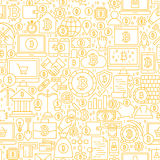 Line Bitcoin White Seamless Pattern. Vector Illustration of Outline Tile Background. Cryptocurrency Financial Items Stock Image
