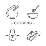 Line black cooking icon set. Universal minimal cooking line icon black set on white background Stock Photography