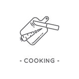 Line Black Cooking Icon on White Background. Cooking line icon. Universal Minimal Modern Thin Line Black Icon on White Background Stock Photos