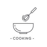 Line Black Cooking Icon on White Background. Cooking line icon. Universal Minimal Modern Thin Line Black Icon on White Background Royalty Free Stock Image