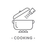 Line Black Cooking Icon on White Background. Cooking line icon. Universal Minimal Modern Thin Line Black Icon on White Background Stock Image