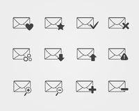 Line black Email icons set. Isolated on a white background Stock Images