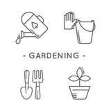 Line black gardening icon set Stock Photos