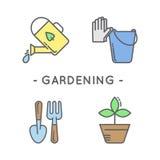 Line black gardening icon set Royalty Free Stock Images