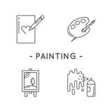 Line black painting icon set Stock Photos