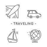 Line black traveling icon set. Universal minimal traveling line icon black set on white background Stock Photography