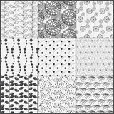 Line black and white nature pattern set. 9 simple line pattern, nature and abstract concept, Endless texture can be used for wallpaper, pattern fills, web page Stock Image