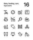 Baby, feeding, care, toys icons for web and mobile design pack 3 royalty free illustration