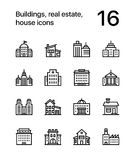 Buildings, real estate, house icons for web and mobile design pack 2. 16 line black and white vector icons royalty free illustration