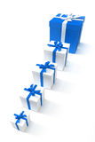 Line of blue gift boxes Stock Image