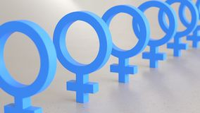Linear Array of Blue Male Icons on a Light Gray Surface. Line of Blue Male Icons on a simple light surface. This image is a 3d render Stock Photography