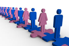 Line of blue and pink human forms standing over meshed jigsaw pi. Eces on white background Stock Photography