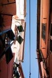 Characteristic narrow street of Vernazza stock image
