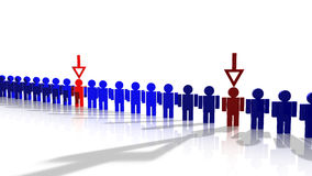 Line of blue workers with arrows Royalty Free Stock Images