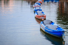 Line of boat. The row of boats in the river Royalty Free Stock Image