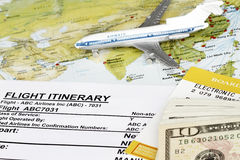 On-line booking. On line booking flight itinerary with map