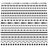 Line border, geometric, dotted vector dividers set. Trendy hipster style brushes Royalty Free Stock Images