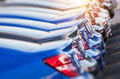 Line of Brand New Cars royalty free stock photo