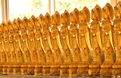 Line of Brass Goddess of Mercy Statues Stock Image