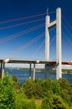 Line bridge details in summer nature scenery Stock Photo