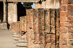 Line of Broken Brick Columns Royalty Free Stock Images