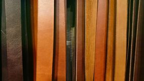 Leather Belts Background. A line of brown and black leather belts stock photos