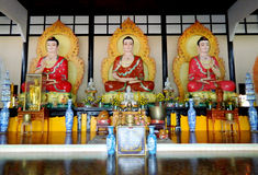 Line of buddha statues in Buddhist temple Royalty Free Stock Photos