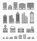 Line building icons, set of outline buildings Royalty Free Stock Photo