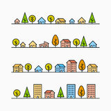 Line buildings and trees in line, 4 different styles Stock Photography