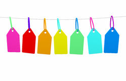 A line of bunting with blank tags ready for messgae Stock Photo