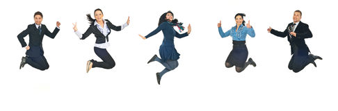 Line of business people jumping Royalty Free Stock Image