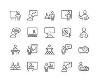 Line Business Presentation Icons. Simple Set of Business Presentation Related Vector Line Icons. Contains such Icons as Presenter, Teacher, Audience and more Royalty Free Stock Photos