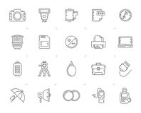 Line Camera equipment and photography icons. Vector Icon Set Royalty Free Stock Image
