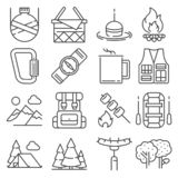 Line Camping and outdoor recreation icons set royalty free stock photos