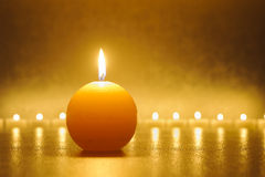 Line of candle lights Stock Photos