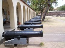 Line of canons fort jesus Royalty Free Stock Photos