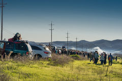 Line of car and people to see Spacex Rocket launch. Stock Images