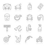 Line car wash objects and icons Stock Image