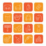Line car wash objects and icons Stock Images