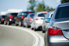 Line of cars on holiday. Standing cars in a holiday traffic jam Stock Photography